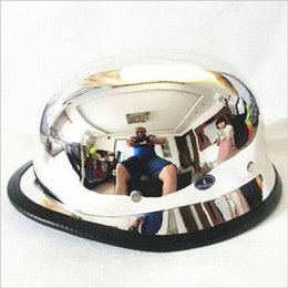 Wholesale Hot Motorcycle Mirrors - Free Shipping CHROME MIRROR German Style DOT Approved Half face Motorcycle Helmet military helmet Chopper Cruiser hot sale free shipping