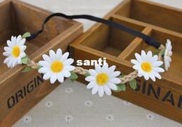 fitas florais da festão Desconto Chegam novas Hairband Headband Casamento Festival Elastic Flower Floral Hair Garland