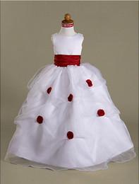 Robe boule scoop parole longueur organza sur satin ramasser jupe robe fille fleur pour la noce ? partir de fabricateur