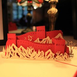 "Wholesale Origami For Birthday - Chinese ""Great Wall"" Handmade Kirigami & Origami 3D Pop UP Greeting Cards For Birthday Gift Free Shipping"