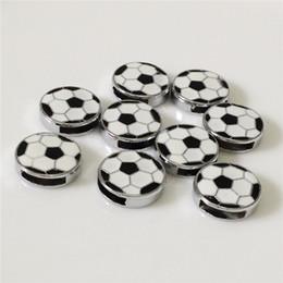 Wholesale Sliding Pc - 20 PCS Lot Hot 8MM DIY Football Slide Charms Fit 8MM Wristband Belt Bracelets DIY Components Ball Slide Charms BC01