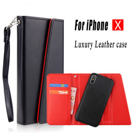 Wholesale Magnetic Leather - Detachable Magnetic Snap-on Wallet Leather Case Luxury Back Cover Pouch With Card Slot For iPhone X 8 7 6 6S Plus Samsung S8 Plus