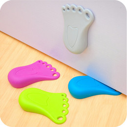 Wholesale Cute Door Stoppers - Practical Kid Baby Cute Foot Shape Finger Safety Door Stopper Stops Protector CYB25