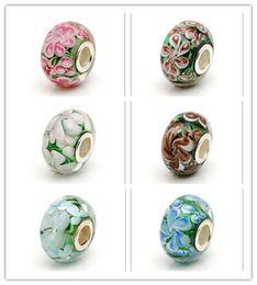 Canada 6kinds S925 perles de verre en argent sterling grand trou multicolore en verre de Murano fleurs pour les bracelets et pendentifs de charme de bijoux bricolage européen Offre