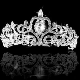 Wholesale Bridal Hair Tiara Veil - Beautiful Wedding Bridal Princess Austrian Crystal Prom Hair Tiara Crown Veil Headband For Party