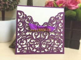 Wholesale Free Laser Patterns - Wholesale- 100pcs lot Free Shipping Western Style Laser-Cut Lace Flower Pattern Customizable Printable Wedding Invitations Cards 3 colors