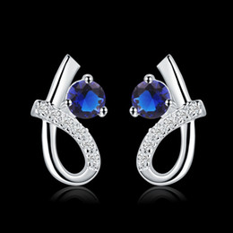 Wholesale Heart Shape Earrings Silver - hot selling Valentine gift Heart-shaped design high quality elegant and fashion charm girls 925 sterling silver blue zricon jewelry earrings