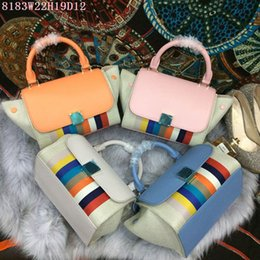 Wholesale Phone Blocks - Designer leather Totes women block colors small casual Totes Original leather with buckle factory prices free shipping