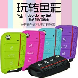 Wholesale New Vw Golf Cover Case - Free Shipping 2014 New Silicone Key Cover for VW Golf 7 mk7 Skoda Octavia A7 Silicone Key Portect Case 9 Colors Optional