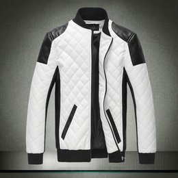 Wholesale White Leather Jacket Mens Motorcycle - 2015 Spring new fashion men's jacket Simple Hit color pu leather jacket Motorcycle jacket slim men's Winter coat mens jackets men's Outwear