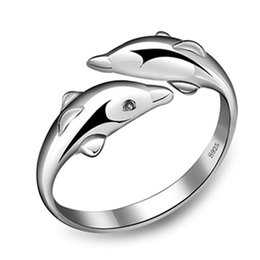 Wholesale Sterling Adjustable Ring - Wholesale-fashion 925 Sterling Silver Double Dolphin Ring Opening Adjustable Silver Plated Rings for girl Charm Jewelry Valentine's Gift