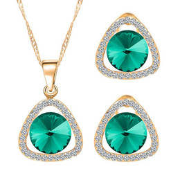 Wholesale Necklace Triangular - Newest Crystal Jewelry Sets For Women Triangular shape Necklace Earrings Sets High Quality Top Sales Cheap Jewelry Set 32M40