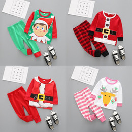 Wholesale White Santa Claus Suit - Christmas Baby Clothes Kids Xmas Elk Pajamas Sets Striped Santa Claus Suits Cotton Tops Pants Outfits Cartoon Long Sleeve Clothing