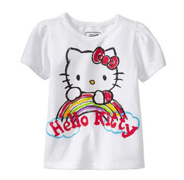 Wholesale Cartoon Kids Tees - Fashion Girls Cartoon Kitty Cats Short Sleeve Tee Shirts Children Clothing Summer Pure Cotton T-shrit Tops Kids T-shrits Shirts KB209