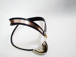 Dispositivi di castità maschili Reggiseno per castità in acciaio inossidabile regolabile Cage Cage T-shaped Chastity Underwear Intimo di castità BDSM Enforcer da