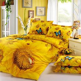 Wholesale 3d Bedding Set Sunflower - 2015 3D Bedding Oil Painting 4pcs Golden Sunflower Printed Bedding Sets Three Dimensional Pattern Home Textiles