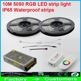 Wholesale 12v Led Warm Dimmer - 10M Waterproof 600led smd 5050 RGB Led Flexible Strip light+2.4G Wireless touch Dimmer controller+DC 12V 10A 120w Aluminum Power Cool Warm