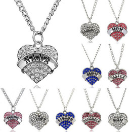 Wholesale Pink Link Chain Necklace - 5PCS lot Pink Blue Clear Rhinestones Heart Pendant Necklace With NANA Sister Daughter Mom Word Fit For Family Gift