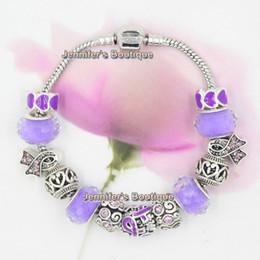 Wholesale Bracelet Imitation Jewellery - Wholesale Free Shipping New Arrival DIY Interchangeable Pancreatic Cancer Jewelry Purple Ribbon Cancer Awareness Bracelet Jewellery
