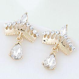 Wholesale Gold Plated Studs - 2015 Fashion Korean Gold Crystal Stud Earrings Bijoux Women Earrings Crown boucle d'oreille Fashion Jewelry Women Accessories
