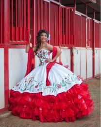 Wholesale Dress Quinceanera Hot Sale - Hot Sale White And Red Tiered Draped Embroidery Quinceanera Dress 2016 New Organza Ball Gown Sweetheart Sweet 15 Dresses