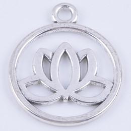Wholesale Lotus Flower Bracelets - 100pcs lot antique silver metal alloy precious lotus flower fashion jewelry collet fit necklace bracelet keychain bag decoration DIY 5354