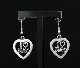 Wholesale Fishing Numbers - I Love Ballet Heart Charms Drop Dangle Earrings 925 Silver Fish Ear Hook 50pairs Tibetan Silver Chandelier Earrings Jewelry Gift HOT S271