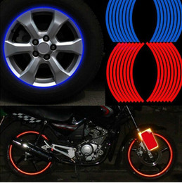 "reflective bike decals Coupons - 16 Pcs Strips Wheel Stickers And Decals 14"" 17"" 18"" Reflective Rim Tape Bike Motorcycle Car Tape 5 Colors Car Styling"