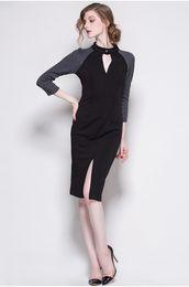 Wholesale Color Block Dresses Sleeves - Color Block Women Sexy Split Dress 3 4 Sleeve Dresses 01M007