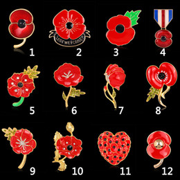 Wholesale Uk Brooch - Brooch for Women 12PCS LOT Wholesale Red Crystal Rhinestone Poppy Brooches Pins UK Remembrance Day Christmas Brooches