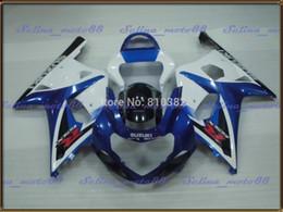 Wholesale Gsxr Abs Motorcycle Fairing - Fairing kit for SUZUKI GSXR 600 750 01 02 03 White blue panels GSXR 600 GSX-R750 K1 2003 2001 2002 motorcycle body PM12