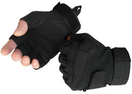 Wholesale Real Leather Men Gloves - Free shipping Fighting gloves tactical gloves for outdoor sports fitness gloves Cycling gloves black