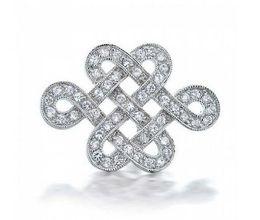 Wholesale Celtic Knot Wedding - Vintage Style Rhodium Silver Tone Clear Rhinestone Crystal Diamante Knot Brooch Pins