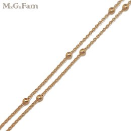 Wholesale 2mm Gold Bead - MGFam (212N) (45cm*2mm) Fashion Tiny Beads Necklace Jewelry for Women 18k Gold Plated for Wholesale Price