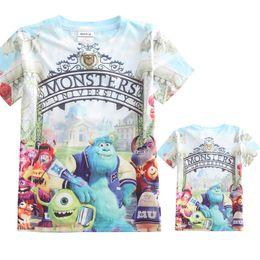 Wholesale Wholesale University Clothing - Boys Cartoon T-shirt Monsters University 3D printing fashion short sleeve shirt Children sports cotton clothes DHL free MOQ:200pcs SVS0311#