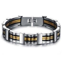 Wholesale Gel Bead Bracelet - Wholesale-Free to join Inter jewelry shop fashion gift Korean men's gold titanium steel silica gel bracelet PH814