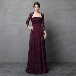 Wholesale Strapless Lace Wedding Dress Jacket - Two Piece Burgundy Mother of the Bride Dress with Lace Jacket A line Chiffon Skirt High Quality Wedding Guest Formal Dress