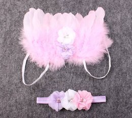 Wholesale Wholesale Pink Costume Pearls - newborn photography props baby fabric flower pearl headbands + puffy angel wings costume toddler pink fairy feather butterfly wing suit gift