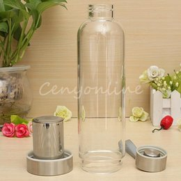 2019 vasos de agua modernos Diseño moderno BPA Free Glass Sport botella de agua con filtro de té Infuser bolsa protectora 550ml Fruit Outdoor Eco-Friendly rebajas vasos de agua modernos
