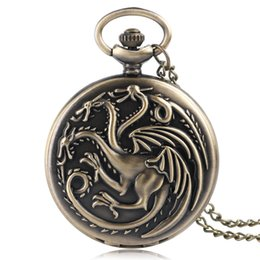 Wholesale Classic Vintage Watches - Top Vintage Pocket Watch Men Women Game of Thrones Theme Classic Bronze Quartz Watches Pendant Long Chain Necklace Child Gift Wholesales