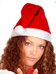 Wholesale Santa Claus Adult - New Christmas Cosplay Hats Thick Ultra Soft Plush Santa Claus hat 26*35cm Cute adults Christmas cap Christmas Supplies 300pcs Free shipping