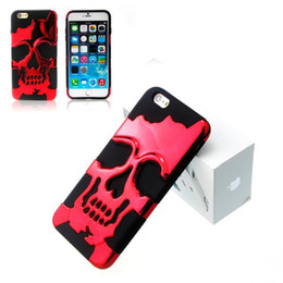 "Wholesale Skull Iphone Hard Case - For iphone 6 6s Plus 7 7pLUS 5.5"" 4.7"" inch Hybrid Skull Evil Demon Plastic Hard Metallic Chormed soft Case Shiny Chrome Bling skin cover"