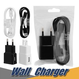 Wholesale Galaxy Smartphones - 2A Home Power Adapter For Galaxy S7 S6 Note 5 Wall Charger Charging Adapter 3ft USB Cable for Android Smartphones Charging Cable One Set