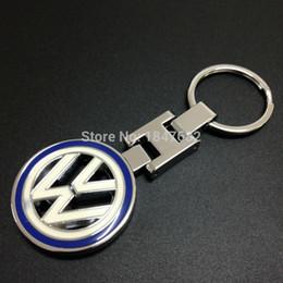Wholesale Golf Logo Badges - 10 PCS High quality metal leather 3D Car Keychain for Volkswagen VW car emblem Keyring car logo key rings Gift badges