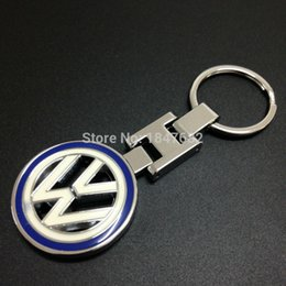 Wholesale Emblem Logo Key - 10 PCS High quality metal leather 3D Car Keychain for Volkswagen VW car emblem Keyring car logo key rings Gift badges