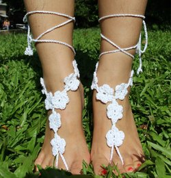 Wholesale Wholesale Crochet China - Hot Selling China Pure Hand-knitted Crochet Barefoot Sandals Jewelry Lace-up Barefoot Sandals Beach Wedding Party Anklet Accessory W703