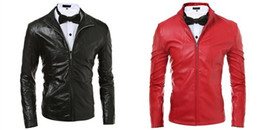 Wholesale Matches Leather Jackets - Spring Men Casual Cool Leather Jacket PU Contracted Style Long Sleeve Stand Collar Motorcycle Jacket For Men All-match Men Jacket J160120