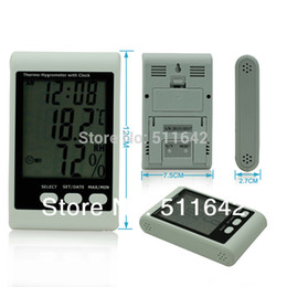 Wholesale Precision Clocks - EHT01 Indoor High Precision Digital LCD Thermometer Hygrometer With Clock Thermo-Hygrometer Temperature Humidity