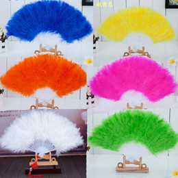 Wholesale Tang Dynasty Wholesale - 2017 New 9 colors Handmade Chinese Japanese Folding Marabou Feather Hand Fan Stage Performance Props Wedding Party Favors