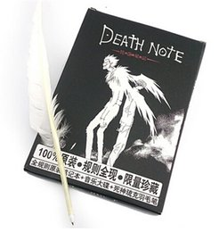 Wholesale Death Note Pen - 80pcs Hot Sale Death Note Notebook and Feather Pen Book Japan Anime Writing Journal for christmas gift D489
